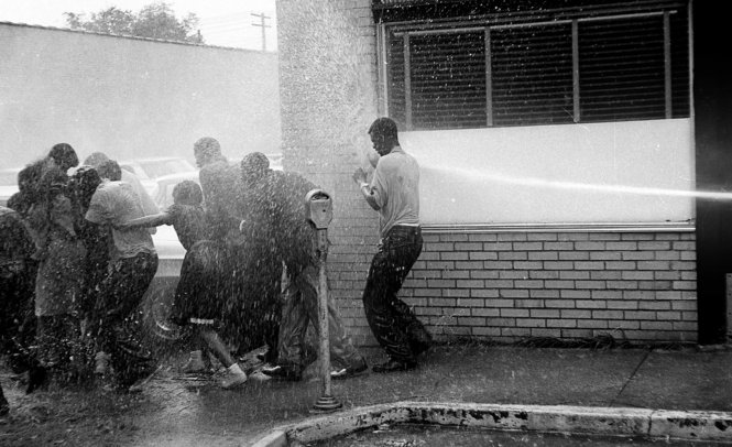 May 1963, Children's Marchers pushed back by fire hoses. Photo courtesy of The Birmingham News